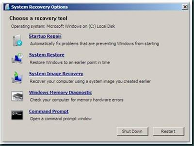 Win7 Startup Recovery Console